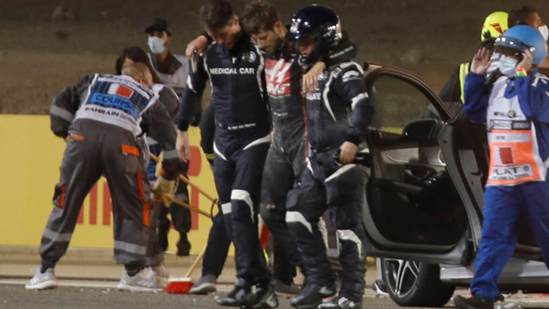 Bahrain GP restarts after Grosjean's huge crash and fire LIVE!