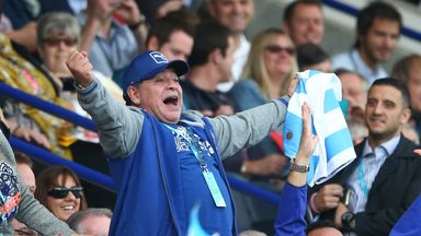 Diego Maradona celebrates Argentina scoring a try during the 2015 Rugby World Cup