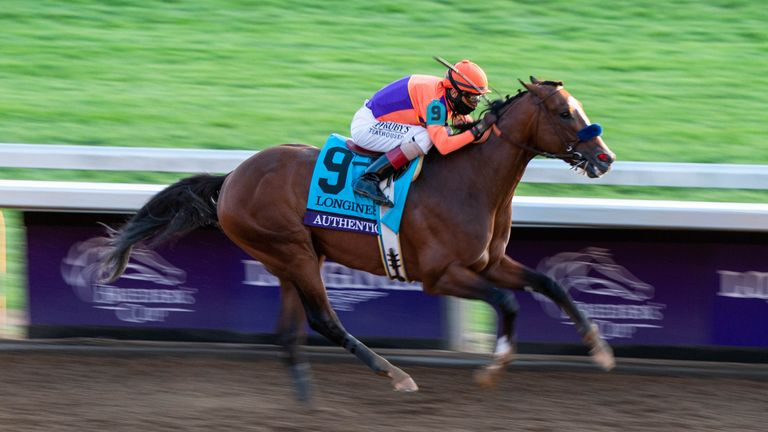 November 7, 2020 : Authentic, ridden by John Velazquez, wins the Longines Classic on Breeders... Cup Championship Saturday at Keeneland Race Course in Lexington, Kentucky on November 7, 2020. Scott Serio/Breeders... Cup/Eclipse Sportswire/CSM