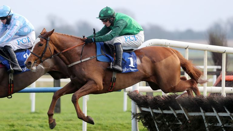 Concertista ridden by Paul Townend jumps the last to win The Irish Stallion Farms EBF Mares Hurdle at Fairyhouse