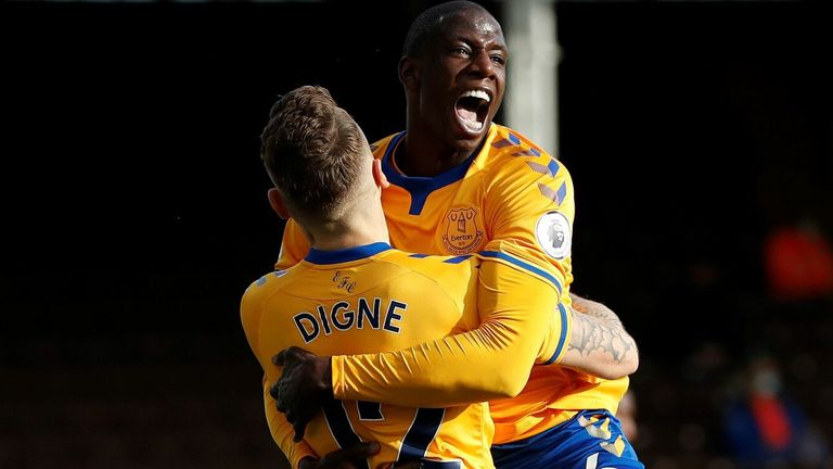 Abdoulaye Doucoure celebrates with Lucas Digne after putting Everton 3-1 up at Fulham