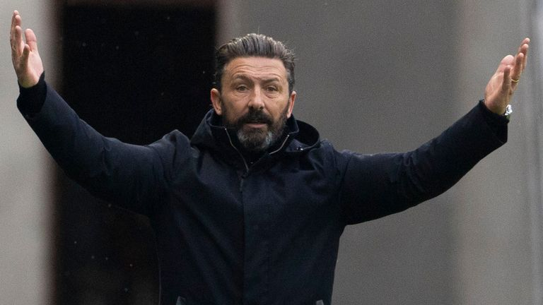 Aberdeen manager Derek McInnes during a Scottish Premiership match between Rangers and Aberdeen at Ibrox