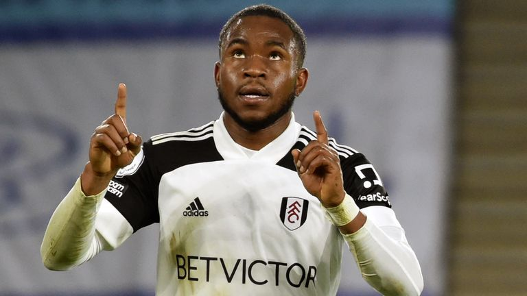 Ademola Lookman celebrates after giving Fulham the lead at Leicester