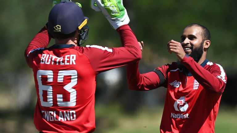 Adil Rashid took 2-23 to pass 50 international T20 wickets