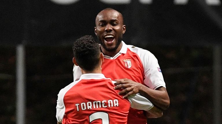 Ali Elmusrati of SC Braga(R) celebrates after scoring their sides first goal with Vitor Tormena of SC Braga(L) during the UEFA Europa League Group G stage match between SC Braga and Leicester City