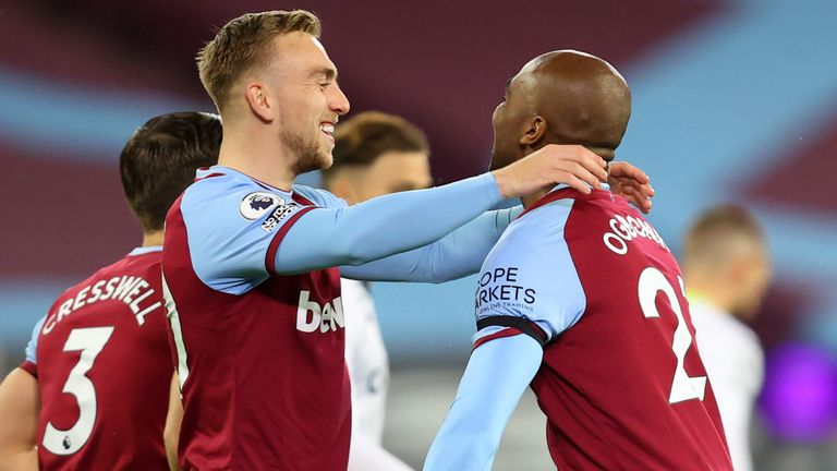 Angelo Ogbonna celebrates with Jarrod Bowen after putting West Ham ahead against Aston Villa