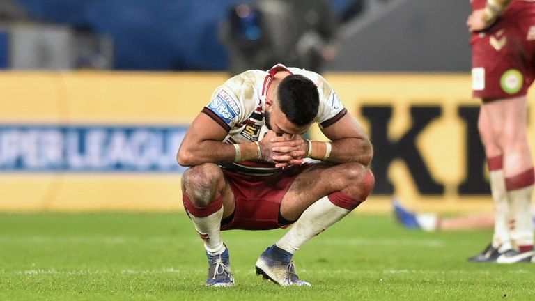 Wigan's Bevan French looks dejected after the loss.