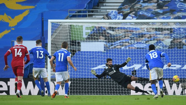 Brighton's German midfielder Pascal Gross (2L) scores a penalty in added time past Liverpool's Brazilian goalkeeper Alisson Becker (2R) during the English Premier League football match between Brighton and Hove Albion and Liverpool at the American Express Community Stadium in Brighton, southern England on November 28, 2020