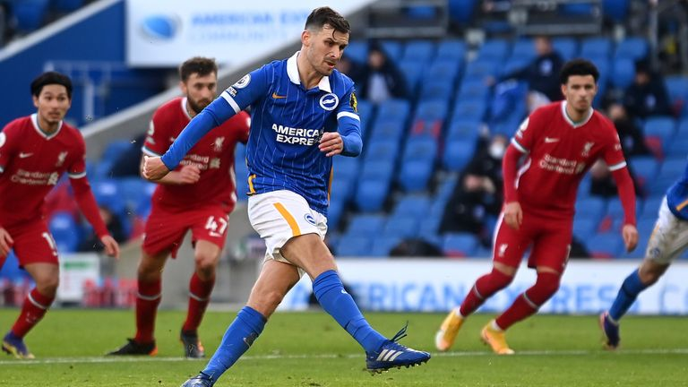 Pascal Gross' late penalty earned Brighton a point against Liverpool