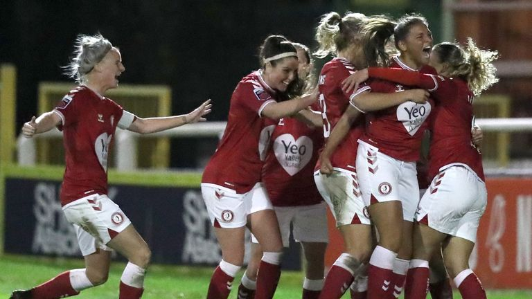 Bristol City celebrate after their late equaliser earned them a first point of the Women's Super League season