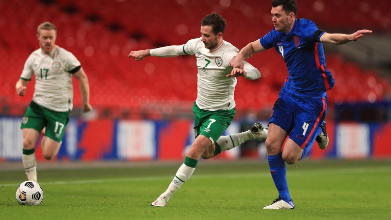 Alan Browne played 90 minutes in Rep Ireland's 3-0 defeat to England