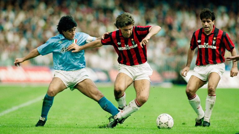 Diego Maradona and Carlo Ancelotti during a Serie A match in October 1990