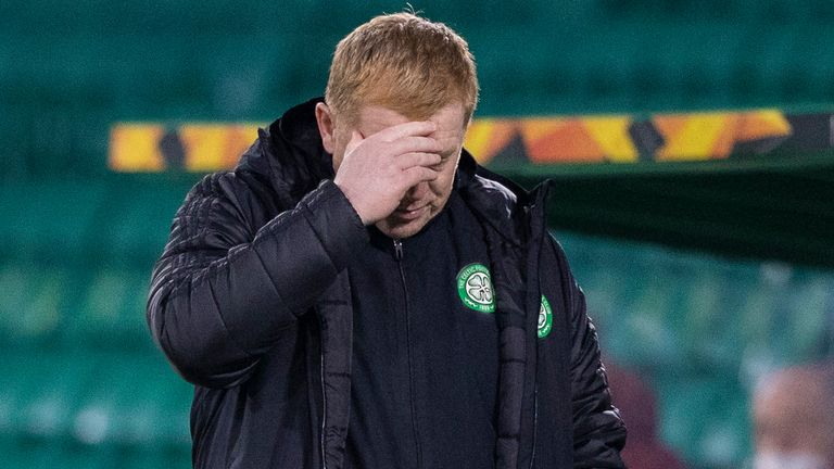 Celtic manager Neil Lennon during  the UEFA Europa League match between Celtic and Sparta Prague