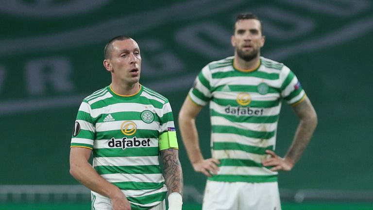 Scott Brown watches on as Celtic fall further behind to Sparta Prague
