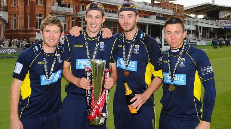 Wood celebrates with his Hampshire team-mates after winning the Clydesdale Bank Pro40 final against Warwickshire in 2012