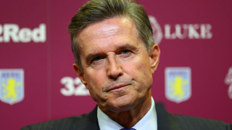 Chief Executive of Aston Villa Christian Purslow during a press conference at Villa Park Stadium on October 15, 2018 in Birmingham, England. (Photo by Catherine Ivill/Getty Images)