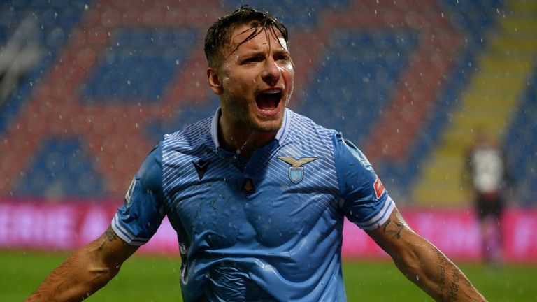 Ciro Immobile celebrates sliding Lazio into the lead against Crotone