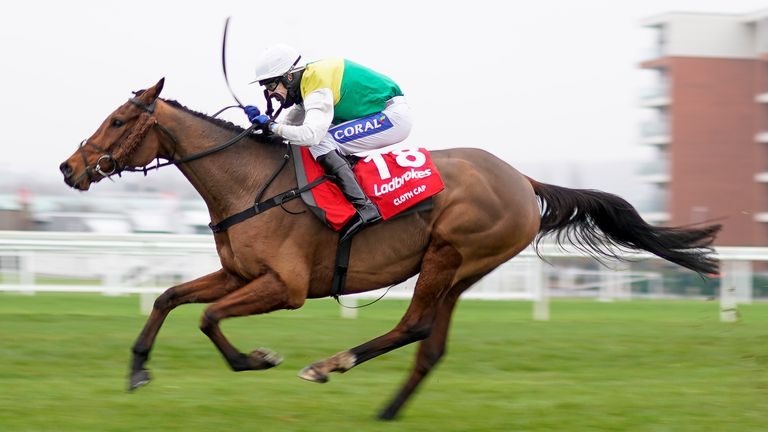 Tom Scudamore riding Cloth Cap clear the last to win The Ladbrokes Trophy Chase at Newbury