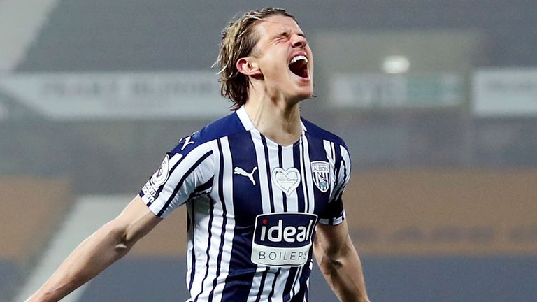 Conor Gallagher celebrates after giving West Brom the lead against Sheffield United