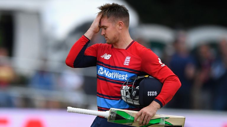 England's Jason Roy is given out for obstructing the field in the second T20I against South Africa at Taunton, 2017