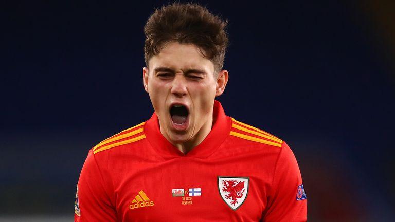 Daniel James celebrates scoring for Wales vs Finland