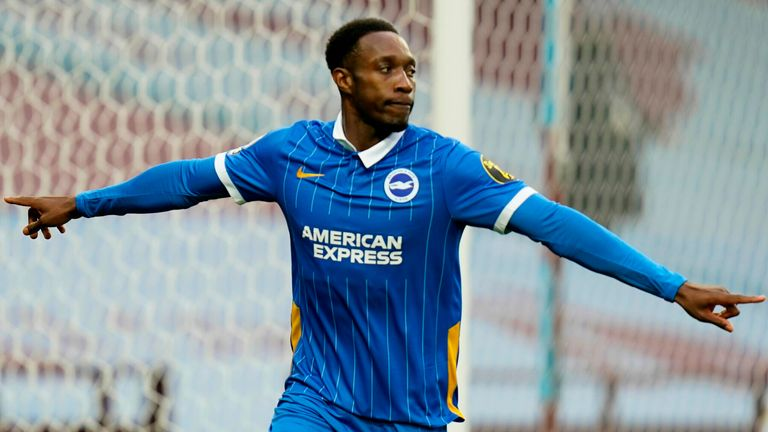Danny Welbeck celebrates scoring for Brighton against Aston Villa