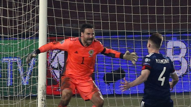 David Marshall saved Alexander Mitrovic's penalty to send Scotland through to the Euro 2020 finals