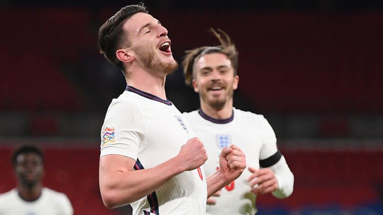 Declan Rice celebrates his first goal for England