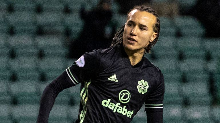 Celtic's Diego Laxalt celebrates after making it 2-2 at Hibernian