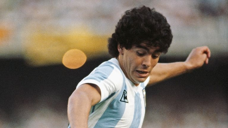Argentina player Diego Maradona in action circa 1985.