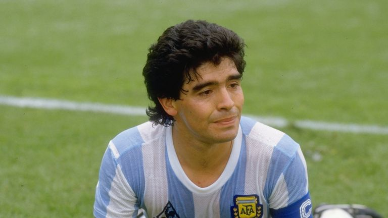 Diego Maradona of Argentina gets up from the pitch during the World Cup match against Bulgaria at the Olympic Stadium in Mexico City. Argentina won the match 2-0.