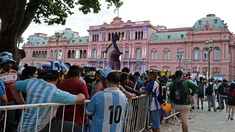 Big crowds gathered outside the presidential palace in Buenos Aires