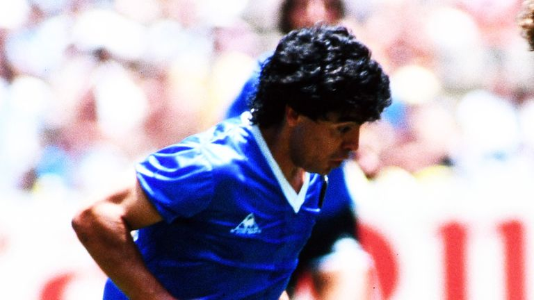 "Diego Maradona on the way to scoring his ""goal of the century"" against England in the 1986 World Cup quarter-final."