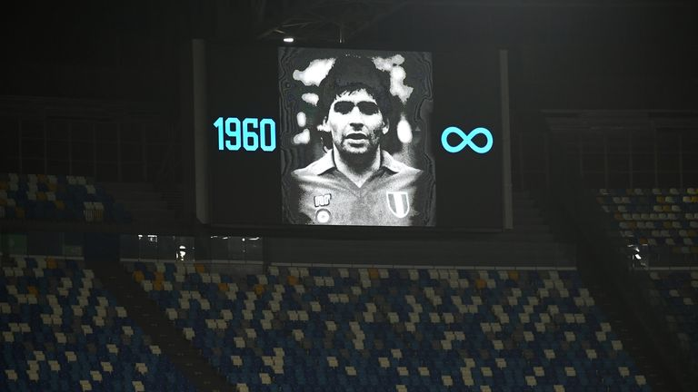 The Stadio San Paolo was illuminated in Diego Maradona's honour