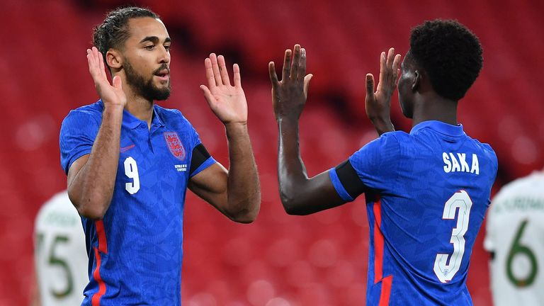 Dominic Calvert-Lewin and Bukayo Saka celebrate during England's win over the Republic of Ireland
