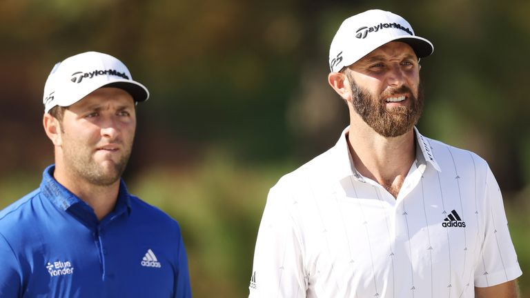 Dustin Johnson (right) and Jon Rahm (left) currently occupy the top two places in the world rankings