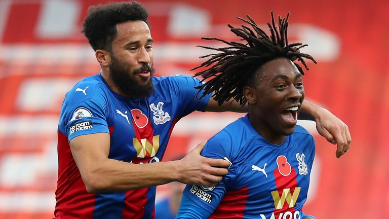 Eberechi Eze celebrates his goal against Leeds United with Andros Townsend
