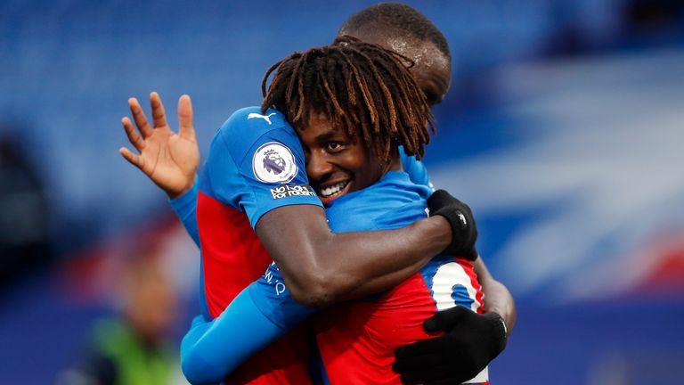 Eberechi Eze is congratulated on his goal against Leeds United by Cheikhou Kouyate