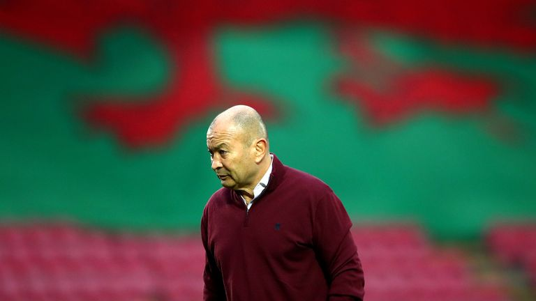 LLANELLI, WALES - NOVEMBER 28: Eddie Jones, Head Coach of England prior to the Autumn Nations Cup match between Wales and England at Parc y Scarlets on November 28, 2020 in Llanelli, Wales.