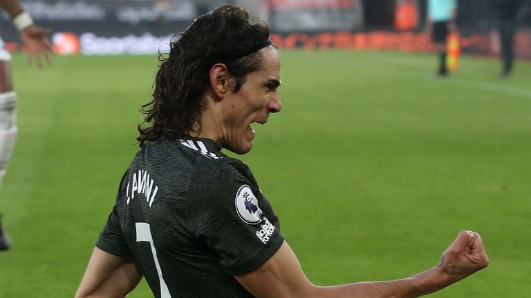 Edinson Cavani celebrates after scoring Manchester United's winner against Southampton at Old Trafford