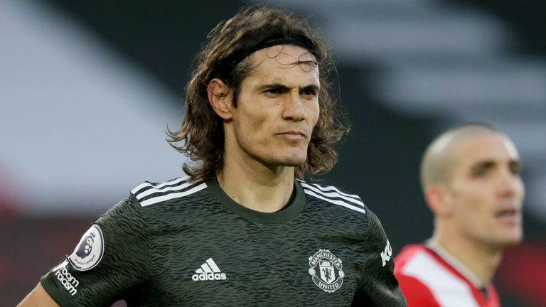 Edinson Cavani in action for Manchester United against Southampton