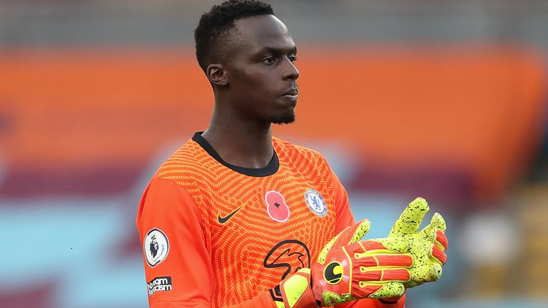BURNLEY, ENGLAND - OCTOBER 31: Edouard Mendy of Chelsea during the Premier League match between Burnley and Chelsea at Turf Moor on October 31, 2020 in Burnley, United Kingdom. Sporting stadiums around the UK remain under strict restrictions due to the Coronavirus Pandemic as Government social distancing laws prohibit fans inside venues resulting in games being played behind closed doors. (Photo by James Williamson - AMA/Getty Images)