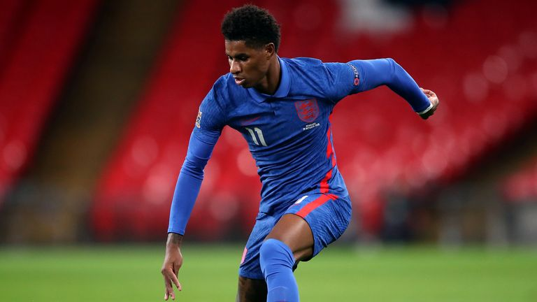 Marcus Rashford will miss England's Nations League double-header after picking up a shoulder injury in Manchester United's win over Everton