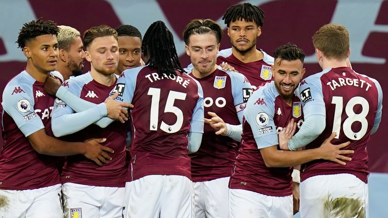Ezri Konsa celebrates with team-mates after scoring for Aston Villa vs Brighton