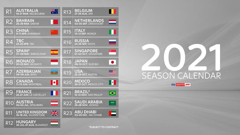 F1 2021 Calendar Formula 1 reveals record length race calendar for 2021 season | F1