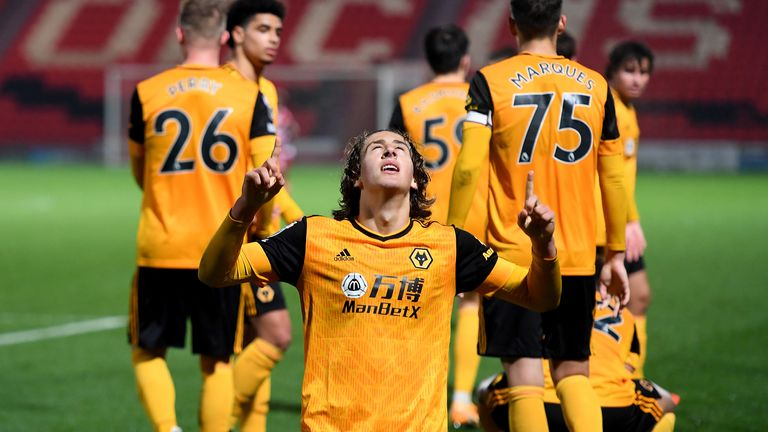 Fabio Silva of Wolverhampton Wanderers celebrates after scoring a goal to make it 1-2 during the EFL Trophy match between Doncaster Rovers and Wolverhampton Wanderers U21