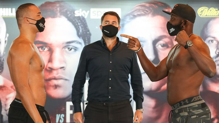 HANDOUT PICTURE COMPLIMENTS OF MATCHROOM BOXING.Fabio Wardley and Richard Lartey weigh in ahead of their Heavyweight fight tomorrow night..20 November 2020.Picture By Mark Robinson