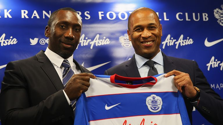 Jimmy Floyd Hasselbaink is announced as the new Queens Park Rangers Manager during a Press Conference at Loftus Road on December 7, 2015 in London, England.