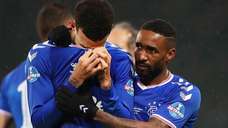 Jermain Defoe consoles Ryan Jack after Rangers' 2019 Betfred Cup final loss to Celtic