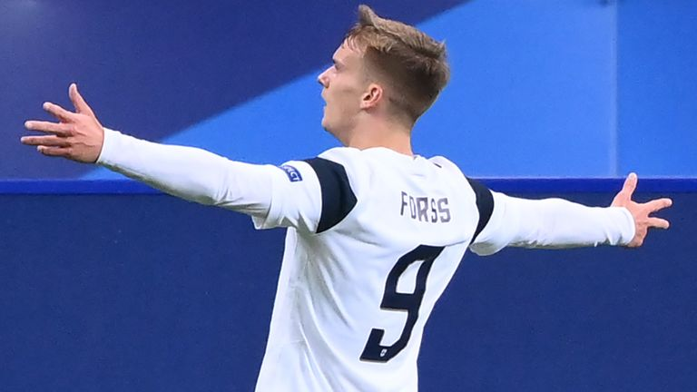 Finland forward Marcus Forss celebrates after scoring a goal during the friendly football match between France and Finland at the Stade de France in Saint-Denis, Paris outskirts, on November 11, 2020.